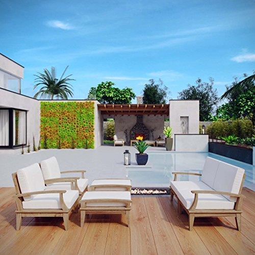Modway Marina Teak Wood 6-Piece Outdoor Patio Furniture Set in Natural White
