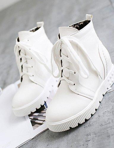 Eu39 Cn39 Punta Uk6 Plataforma De Semicuero Blanco Casual Negro Eu42 Uk8 Zapatos Vestido Moto Botas Mujer Xzz Cn43 5 5 us8 White us10 Redonda White qFwnSxBC4