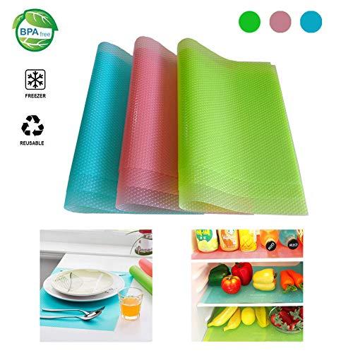 (Fridge Liners 9PCS Antibacterial Mildew Moisture Preserving Pad Refrigerator Mats Fridge Base Cushion Placemats Coasters Kitchen Pads Salad Veg Fresh Liner Shelves Non Slip(3 mixed color,29x45cm))
