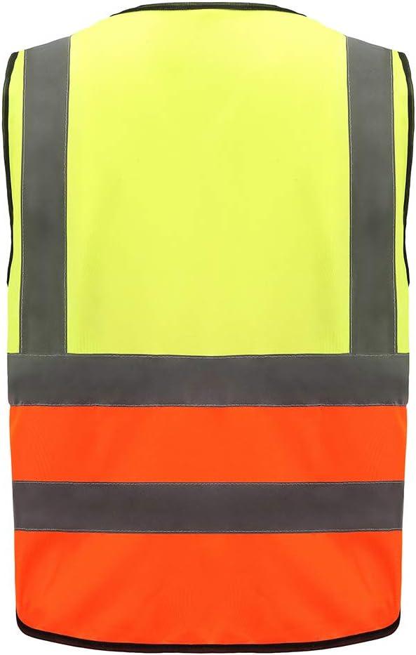 Unisex hochsichtbare Warnweste Hohe Sichtbarkeit Warnweste Reflektierende Weste Rei/ßverschluss EN ISO 20471 Mehrere Taschen,Mehrere Farben M, G/&G