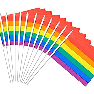 """Rainbow Gay Pride Stick Flag, ANLEY 5x8 inch HandHeld Mini Flag With 12"""" White Solid Pole - Vivid Color and Fade Resistant - LGBT 5 x 8 inch Hand Held Flags With Spear Top (1 Dozen)"""