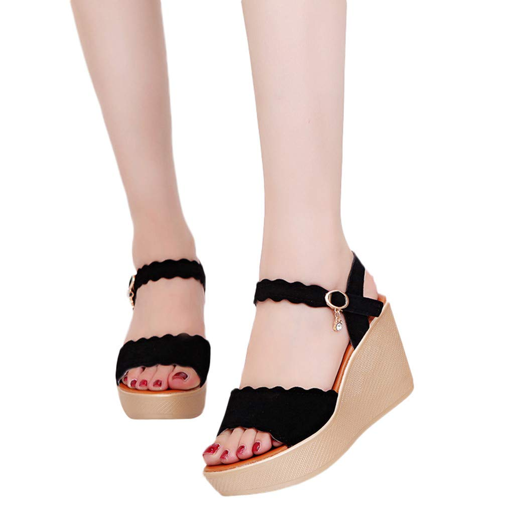 DATEWORK Women Peep Toe Rhinestone Beach Sandals Rome Buckle Strap Casual Wedges Shoes