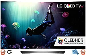 LG Electronics OLED55C6P Curved 55-Inch 4K Ultra HD Smart OLED TV (2016 Model) with Microfiber Cleaning Cloth and Extra HDMI Bundle