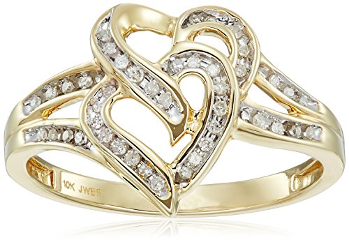 10K Yellow Gold Diamond Double Heart Ring (1/10 cttw), Size - 10k Gold Ring Mothers