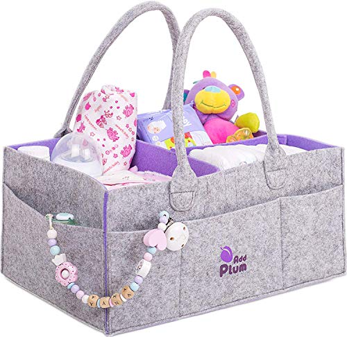 Baby Diaper Caddy Organizer - Portable Large Gray Felt Diaper Caddy Tote for Changing Table - Boy Girl Shower Gift Basket - Nursery Storage Bin and Car Travel Organiser for Diapers and Baby Wipes