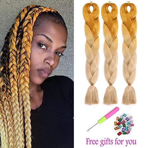 "3Packs Jumbo Braiding Hair 24"" Two Tone Blonde Ombre Kanekalon Crochet Hair Braids Yaki Straight Hair Extensions 100g/pack (Dark Light Blonde)"