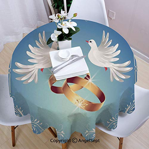 """AngelSept Tablecloths Easy Care,Card Inspired Design with Floral Ornaments Two White Birds Rings,55"""" Round,for Everyday use,Blue Gold White"""