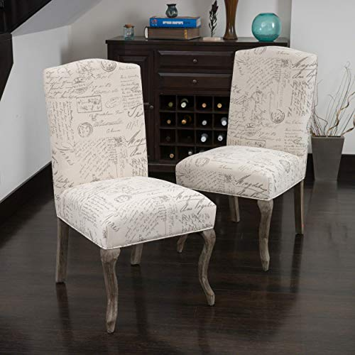 - Christopher Knight Home 230274 Crown Back French Script Beige Fabric Dining Chairs (Set of 2),