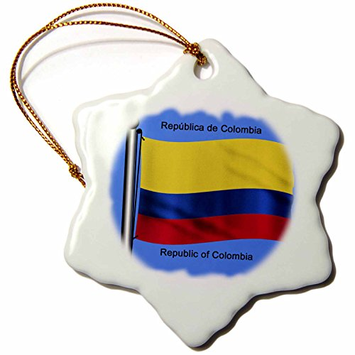 3Drose Orn 51748 1 Colombian Flag Waving On A Flagpole On A Blue Background Republic Of Colombia Snowflake Porcelain Ornament  3 Inch