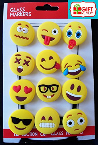Emoji Charms with Suction 12 Pack, Perfect Markers for Everything from Wine Glass to Red Cups! Lifetime by Lifetime Inc (Image #1)