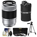 Fujifilm 50-230mm f/4.5-6.7 XC OIS Zoom Lens (Silver) with 3 UV/CPL/ND8 Filters + Tripod Kit for X-A2, X-E2, X-E2s, X-M1, X-T1, X-T10, X-Pro2 Cameras