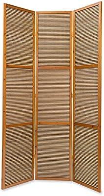 Bois diviseur Shoji avec du Bambou en Brun Clair Homestyle4u 3 pan Diviseur de pi/èce paravent Taille sp/éciale 2 m de Hauteur