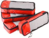 AmazonBasics 4 Piece Packing Travel Organizer Cubes Set - Slim, Red