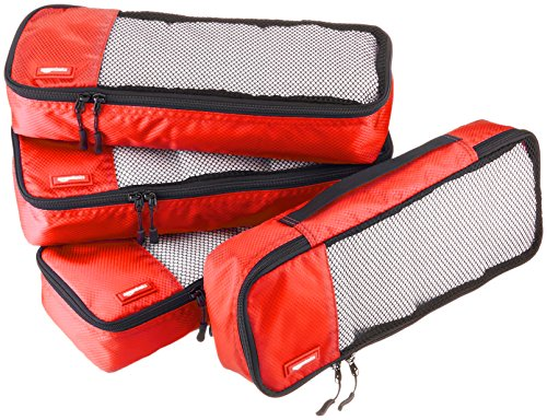 AmazonBasics 4 Piece Packing Travel Organizer Cubes Set - Slim, Red