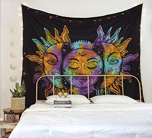 Madhu International Psychedelic Tapestry Indian Sun Moon Fractal Faces Tapestry Celestial Mystic Tapestries Wall Hanging Living Room Tapestry (Tie Dye Sun Moon, Queen(84x90Inches)(215x230Cms))]()