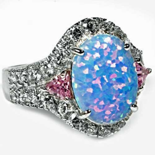 THE ICE EMPIRE JEWELRY, LCC Large Sterling Silver Oval Sparkle Light Blue White LAB Created Opal Ring (Geniune Italian .925 Sterling Silver, - Silver Italian Sterling Ovale