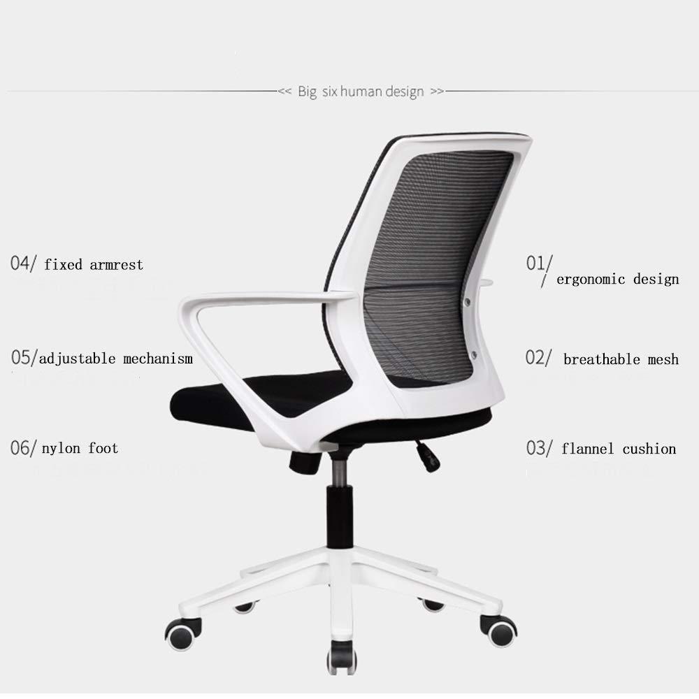 WYYY stolar svängbar stol mitt på baksidan ergonomiskt nät kontor armstöd ländrygg stöd släta hjul höjd justerbar armstödsrotation hållbar stark (färg: svart) Svart1