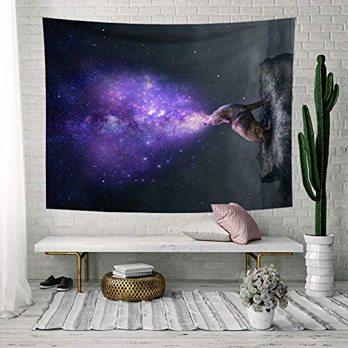 Tapestry Wall Hanging, Purple Smoking Wolf,Bohemian Trippy Hippie Psychedelic Universe Space Modern Print Fabric,Large Size Art Decorative Cloth for Living Room Bedroom,150 × 130 cm ()