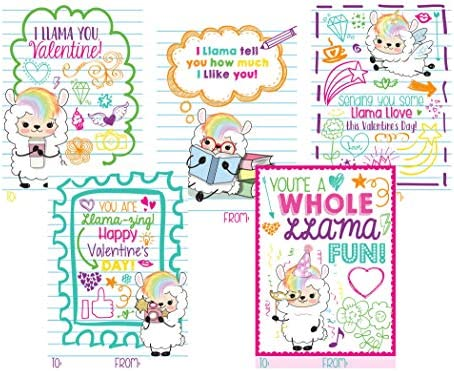 Valentine Kid Cards-Sloth-Hedgehog-Llama-Pencil Holders-Class Party Favors-Personalized-SchoolKids Valentine Party Set of 12