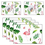 FuturePlusX Flamingo Table Mats, 4PCS Placements Tropical Table Decoration Heat-resistant Anti-skid Washable INS Style for Home Dinning Table
