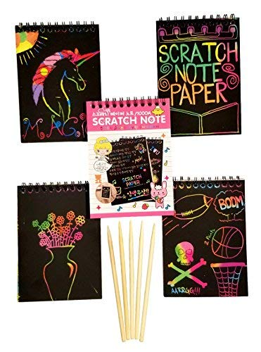 Scratch Art Rainbow Mini Notes with Stylus Scratch Paper and 5 Wooden Stylus Anping Yuangsheng Mesh Co 5 Mini Scratch /& Sketch Art Note Pads, Ltd. 10 Pages per pad