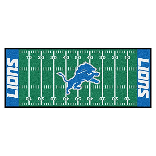 FANMATS 7351 NFL Detroit Lions Nylon Face Football Field Runner , Team Color , 30