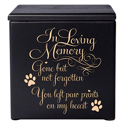 Cremation Urns for Pets SMALL Memorial Keepsake box for Dogs and Cats, Urn for pet ashes In loving Memory Gone but not forgotten you left pawprints on my heart Holds SMALL portion of ashes (Black)