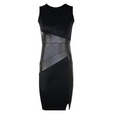 cheap for discount 4c38f 5650f Romacci Damen Kleid PU Leder Splice Rundhals Sleeveless Elegant Schlank  Party Kleid Schwarz
