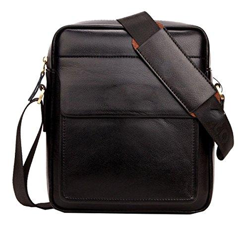 Yy.f Hombres Hombro Messenger Bag Hombres De Negocios Casual Bolsa De Negro Con Estilo Exterior Práctico Interior Paquete De Color Puro Black