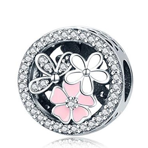 Eternalll Orchid Charms 100% 925 Sterling Silver Pink Enamel Flower Dragonfly Love Heart Bead Charms European Bead fit Pandora Bracelets Beads Crystal Jewelry (Orchid Charms)