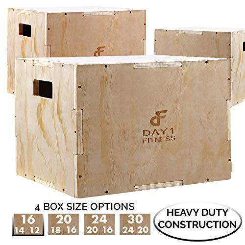 Day 1 Fitness Wood Plyometric Box 16/14/12, 3-in-1, for Crossfit Training, Jumps - Heavy-Duty, Non-Slip Plyo Boxes with Rounded Corners for Safety - Durable Conditioning Equipment