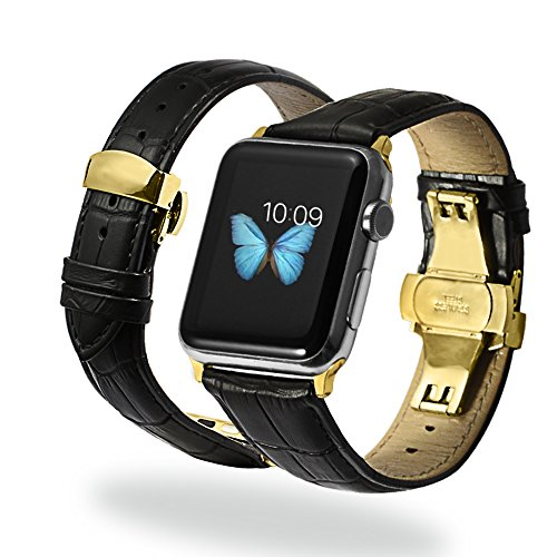 Grain Padded Leather (iStrap 22mm Cow Leather Watch Band Alligator Grain Padded Replacement Gold Deployment Clasp Strap For Apple Watch iWatch 38mm Black)