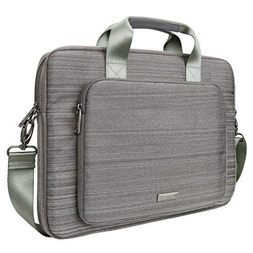 Evecase Laptop Messenger Bag, 15.6 Inch Suit Fabric Multi-Functional Briefcase with Shoulder Strap for Laptop Notebook MacBook Pro Computer - Gray
