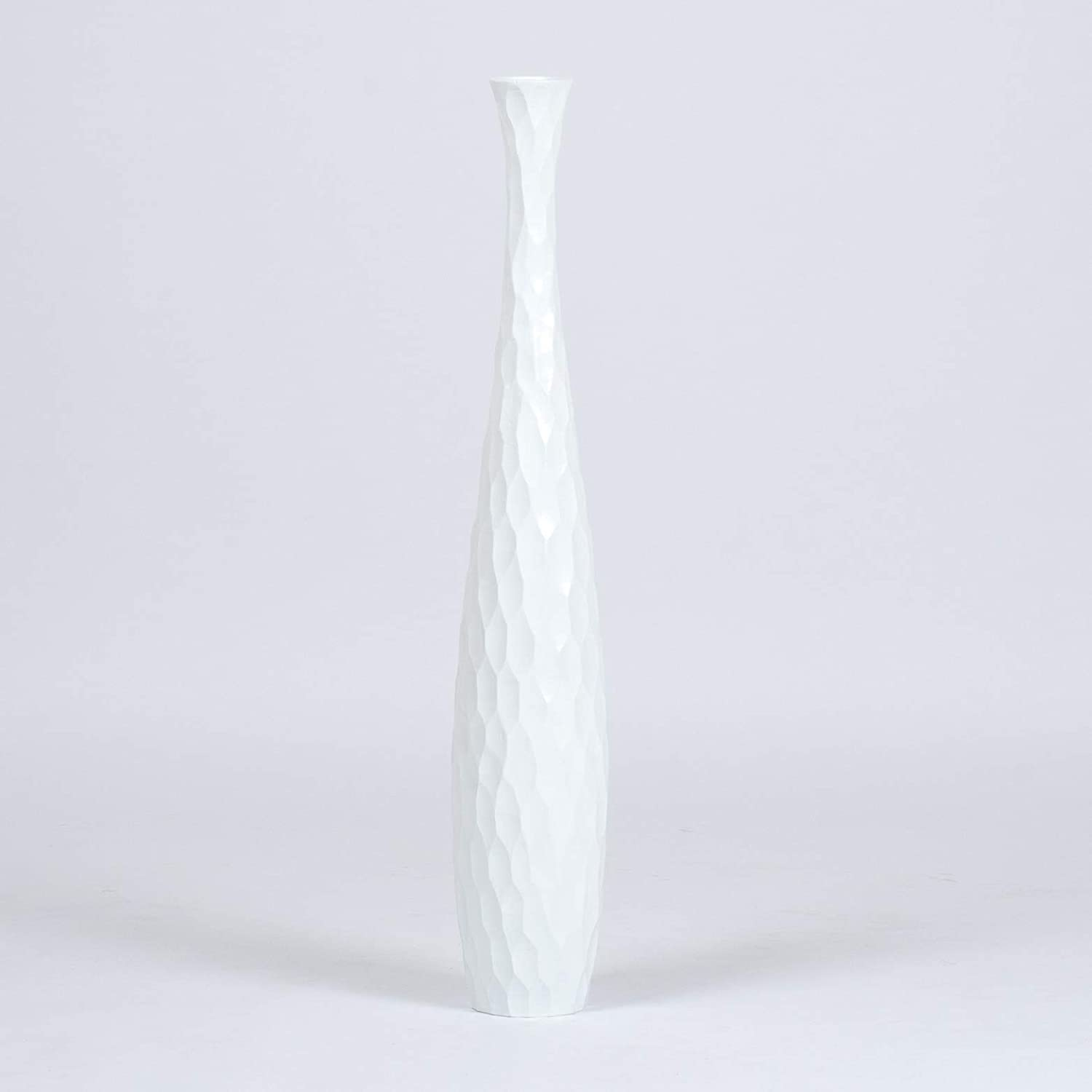 Wood 5x30 inches white Leewadee Tall Big Floor Standing Vase For Home Decor