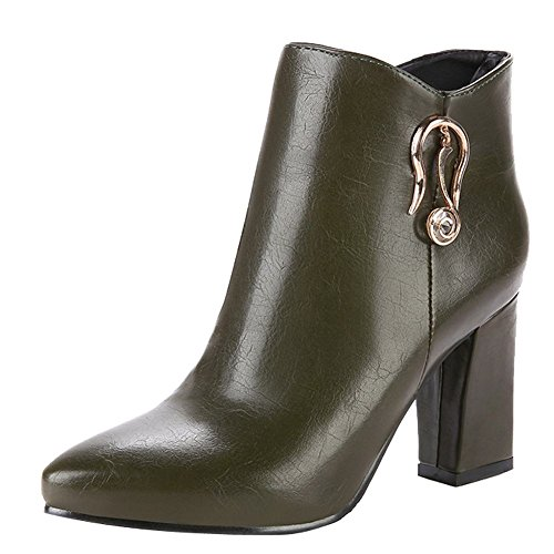Carolbar Womens Zip Pointed Toe Sexy Chic High Heel Short Boots Army Green xHenGrkTK