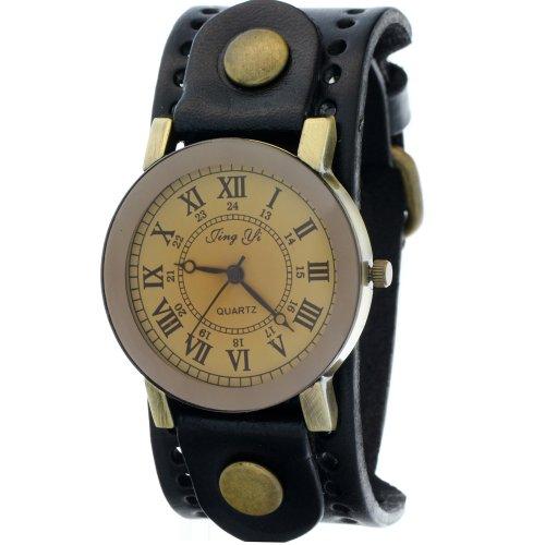 New Arrival Vintage Cow Leather Strap Wide Band Casual Copper Button Pale Gold Dial Quartz Watch