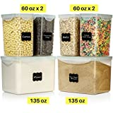 #10: LARGE SIZE Food Storage Containers - Sugar, Flour Plastic Containers 12 pc (set of 6) - 18 FREE Chalkboard labels & Marker - Airtight, Leakproof - BPA Free - Microwave, Freezer & Dishwasher Safe