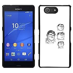 // PHONE CASE GIFT // Duro Estuche protector PC Cáscara Plástico Carcasa Funda Hard Protective Case for Sony Xperia Z3 Compact / sketch comic character cartoon white /