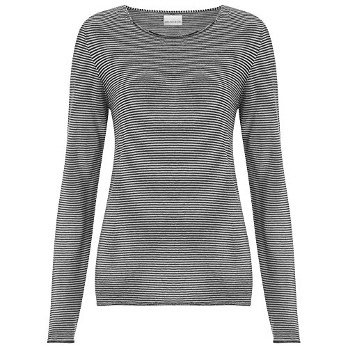 Celtic & Co Womens Fine Knit Merino Lambswool Crew Neck Knitted Sweater - Putty Micro Stripe - Small