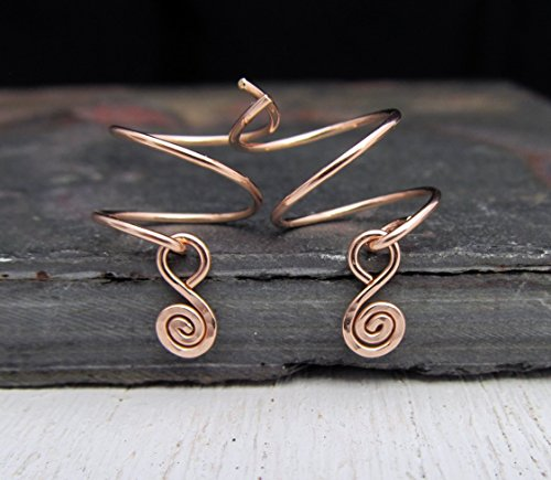 14/20 Rose Gold Filled Double Piercing Earrings with Spiral Charm