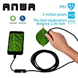 USB Endoscope, ANWA Waterproof HD 2 in 1 for Android and Windows, USB Borescope inspection camera snake 2.0 Mpx 6 Adjustable LED (10FT/3M)