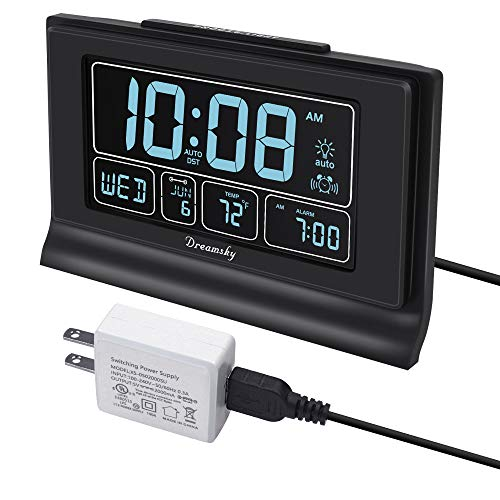 DreamSky Auto Set Digital Alarm Clock with USB Charging Port, 6.6' Large Screen with Time/Date/Temperature Display, Full Range Brightness Dimmer, Auto DST Setting, Snooze, Backup Batteries,12/24Hr.