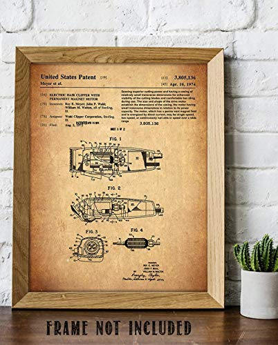 Wahl Barber Clippers - 11 x 14 Unframed Patent Print - Great Gift for your favorite Barber, Hairstylist, or Tonsorial Artist