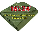 Ultra Duty 16''x 24' Finished Size Industrial Strength Green Polyester Canvas Tarp with Brass Grommets Approx Every 2 Feet All Round