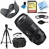 Sigma 100-400mm F5-6.3 DG OS HSM Telephoto Lens (Canon) Deluxe Accessory Bundle includes Lens, 64GB SD Memory Card, Tripod, 58mm Filter Kit, Lens Hood, Bag, Cleaning Kit, Beach Camera Cloth & More