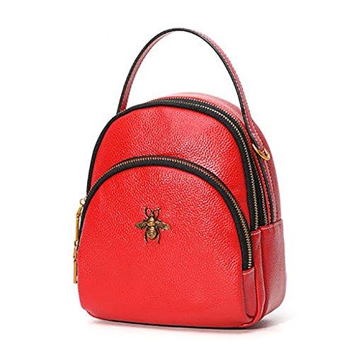 Mochila de cuero New Mini Bags Mochila para mujer Bolsos de cuero coreano (Color : Negro) Rojo