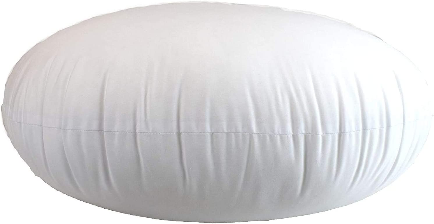 Cushion and Bed MoonRest Round Pillow Insert Hypoallergenic Polyester Form Stuffer-/%100 Cotton Blend Covering for Sofa Sham Decorative Pillow 25 X 25 Inch