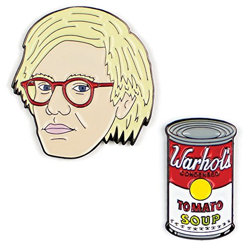 The Unemployed Philosophers Guild Warhol and Soup Can Enamel Pin Set - 2 Unique Colored Metal Lapel Pins