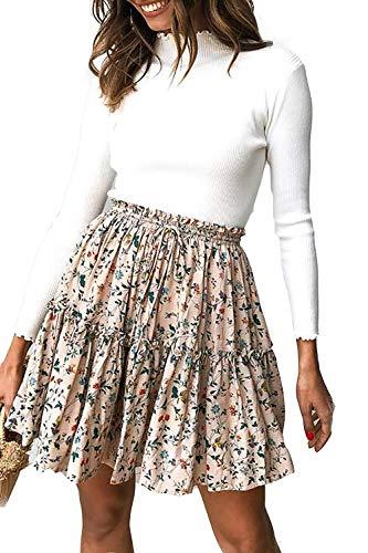 Alelly Women's Summer Cute High Waist Ruffle Skirt Floral Print Swing Beach Mini Skirt Pale Pink