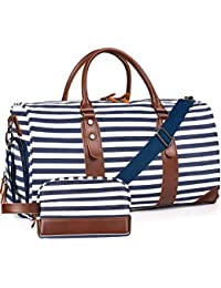 "21"" Weekender Bags Canvas Leather Duffle Bag Overnight Travel Carry On Tote Bag with Luggage Sleeve (Blue/White Striped)"